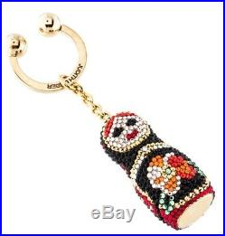 Judith Leiber Russian Doll Misha Red Black Rhine Crystals Key Chain Ring Fob NEW