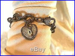 Judith Ripka Verona Heart & Key Charm Bracelet, Size Large (m1348-10-9)