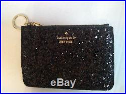 KATE SPADE GRETA COURT INA & BITSY BLACK GLITTER TOTE Keychain Wallet FREE SHIP