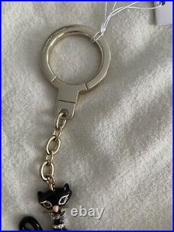 KATE SPADE NEW YORK ENAMEL BLACK CAT FOB BAG CHARM KEY CHAIN, NWT last one