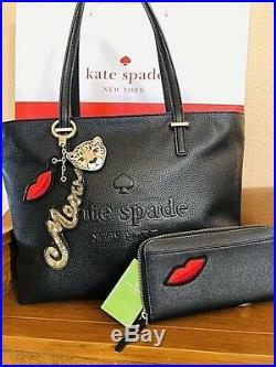 Kate Spade Cat Leopard Leather Tote Hand Shoulder Bag Matching Wallet Key chain