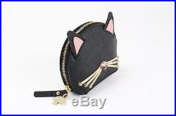 Kate Spade PWRU5089 Jazz Things Up Cat Coin Purse Zip Wallet Keychain BLACK NWT