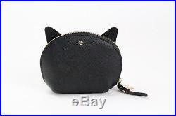 Kate Spade PWRU5089 Jazz Things Up Cat Coin Purse Zip Wallet Keychain BLACK NWT