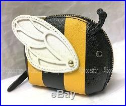 Kate Spade PWRU6283 Picnic Perfect Bumble BEE Coin Purse Wallet BLACK Stripe NWT