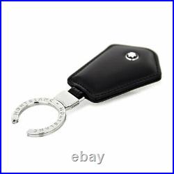 Key ring chain Montblanc Meisterstuck 107685 in black leather for man and woman