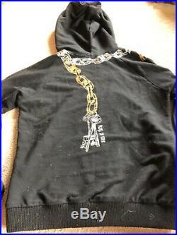 L. A. M. B. Chain hoodie VTG rare black zip jacket L key to me Gwen Stefani HTF