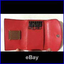 LAST ONECoach 86908 Mickey Black Glove Calf Leather 6Ring Key Case Red Interior