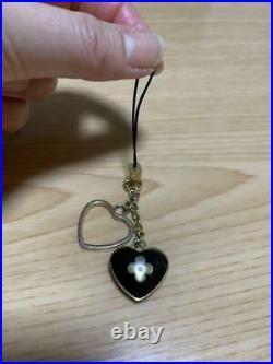 LOUIS VUITTON Authentic Cellphone Mobile Phone Strap Charm Heart Black Gold