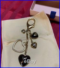 LOUIS VUITTON Bag charm Key chain Key holder AUTH Black Heart Logo LV Kawaii
