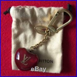 LOUIS VUITTON Bag charm Key chain Key holder AUTH Heart Logo LV Brown Orange