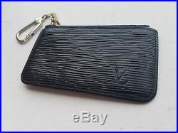 LOUIS VUITTON Black Epi Leather Coin Purse Pouch Key Chain