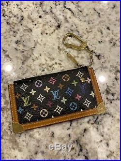 LOUIS VUITTON Black Multicolor Monogram Key Cles Chain Case Pouch