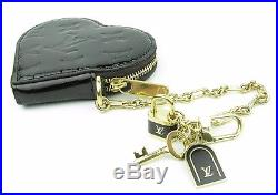 LOUIS VUITTON Black Vernis Heart Coin Purse withCharms D-ring on Chain