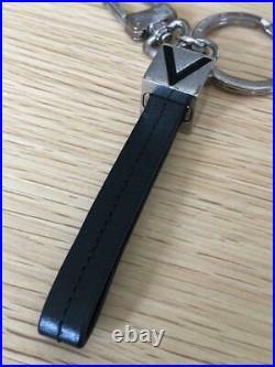 LOUIS VUITTON Key ring key chain V Dragonne silver black accessory M61004 #4721Q