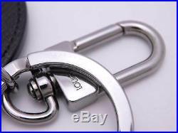 LOUIS VUITTON LV Circle Eyelet Bag Charm Key Ring Black Taiga Leather e41375