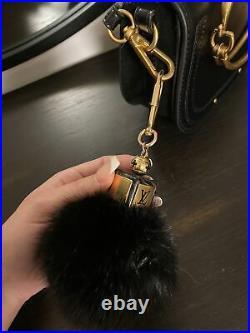 LOUIS VUITTON LV Key Ring Chain Bag Charm Black Fluffy Fur
