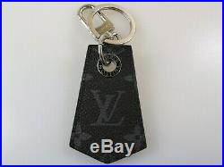 LOUIS VUITTON MONOGRAM ECLIPSE CANVAS KEY RING / BAG CHARM With SILVER ENCHAPPE