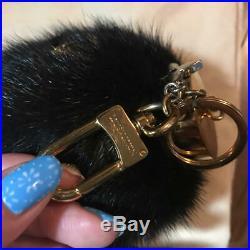 LOUIS VUITTON Mink Fur Bag Charm Key Ring Black