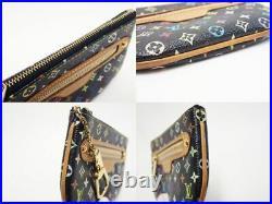 LOUIS VUITTON Monogram Multi Color Pochette MM Key Case Coin Purse M60031 Black