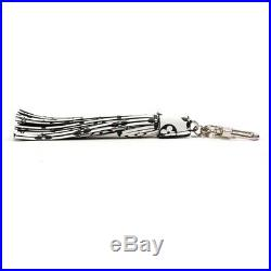 LOUIS VUITTON Tassel MP1769 Keychain White Black Canvas