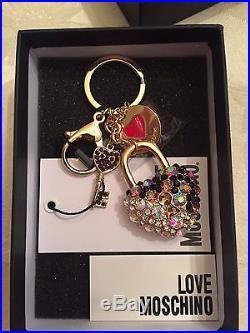 LOVE MOSCHINO Jeremy Scott Black PURPLE HEART Keychain Key Ring KeyHolder