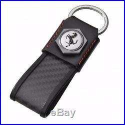 Leather and Carbon Bolt Ferrari Keychain