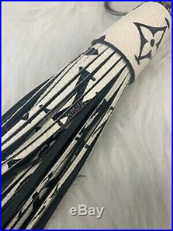 Louis Vuitton Authentic Black White Giant Monogram Bag Charm Tassel Key Chain