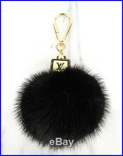 Louis Vuitton Black Mink Fluffy Bag Charm Keychain