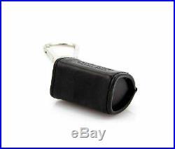 Louis Vuitton Champs Elysees Black Leather Bag Charm Silver Tone Key chain