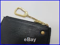 Louis Vuitton Epi Pochette Black Coin Purse Card Case Mini Wallet Key Chain Auth