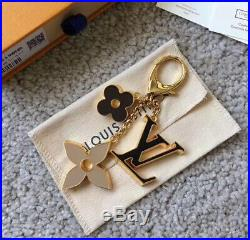 Louis Vuitton Fleur Depi Monogram Bag Charm Key Ring Gold LV With Box