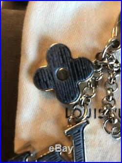 Louis Vuitton Fleur d Epi Gold Bag Charm Key Ring Black Gray