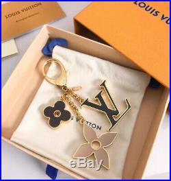 Louis Vuitton Gold Black Plum Beige Fleur De Monogram Bag Charm / Key Chain Ital