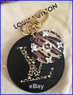 Louis Vuitton JUNGLE GIANT Monogram BAG CHARM Key Holder Black/Caramel BNIB