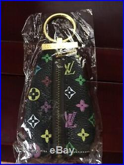 Louis Vuitton Key Chain Coin/Money Purse Logo Black with Gold Hardware-NIP
