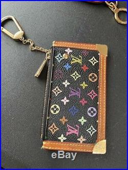 Louis Vuitton Key Chain Coin Purse Multicolor Black