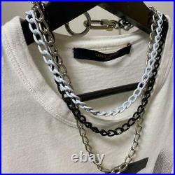 Louis Vuitton Key Ring Wallet Chain Triple White & Black & Silver Authentic