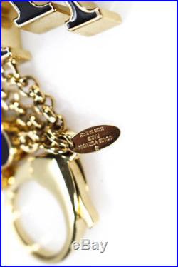 Louis Vuitton Keychain Fleur De Monogram Gold Tone Metal Pink Black Enamel Charm