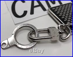 Louis Vuitton LV Porte Cles Damier Key Chain Bag Charm Black Silver Brass M66268