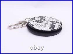 Louis Vuitton Mirror Keyring Bag Charm White/Black Snakeskin/Silver e46484e
