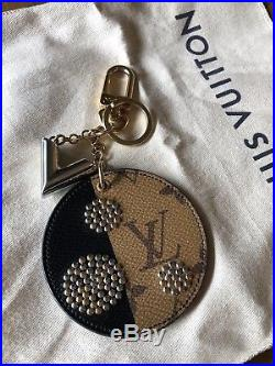 Louis Vuitton Monogram Canvas Brown Black Gold Silver Stud Key Ring Bag Charm