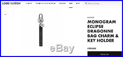 Louis Vuitton Monogram Eclipse Dragonne Bag Charm / Key Holder (m61950) New