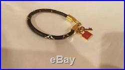 Louis Vuitton Monogram Leather Bracelet LV Key Chain Black Multicolor Wristlet