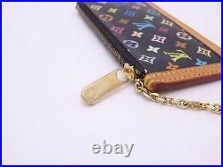 Louis Vuitton Monogram Multicolor Pochette Cles Coin Change Purse Black e46685e