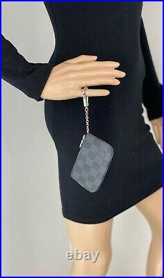 Louis Vuitton Pochette Cles Black Gray Damier Graphite Key Pouch Wallet A677