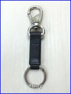 Louis Vuitton Vuitton cup key chain black x silver leather key ring #4592Q