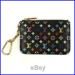 Louis Vuitton Wallet Key Chain Multicolor Pochette Cles Coin Purse Black Charm