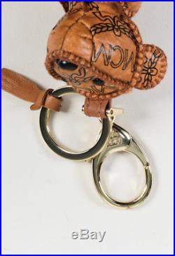 MCM $225 Brown Black Monogram Leather Visetos Bear Keychain