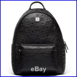 MCM Backpack New Ottomar Black Leather with logo embossed medium