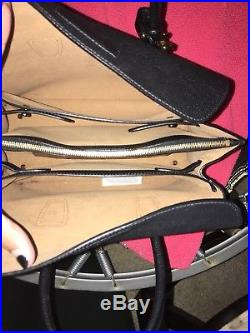 MCM Black Medium Milla Handbag With Black Fringe Keychain